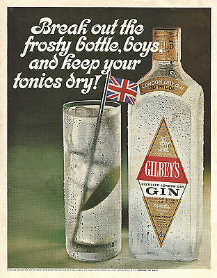 Gilbey's Vodka Original 1967 Vintage Color Print Advertisement - Frosty Bottle