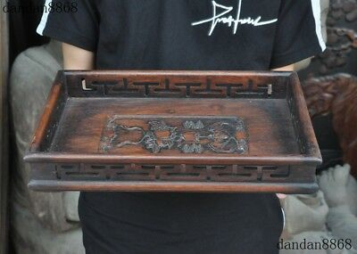 """13""""Old Chinese Huanghuali Wood Royal Pomegranate Food Tea Dish Plate Tray Salver"""