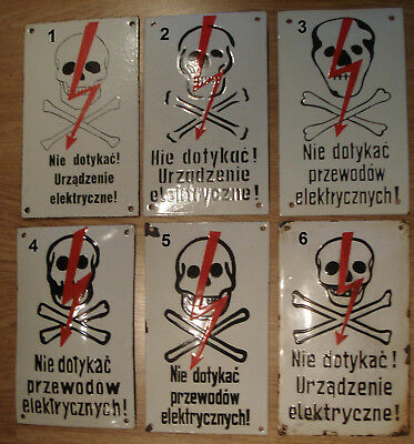Original Dead Skull Vintage Antique Enamel Porcelain  Danger Sign Cross Bones