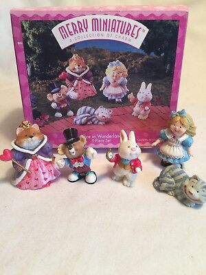 1996 ALICE IN WONDERLAND NEW Hallmark SET 5 Merry Miniatures CHESHIRE CAT QUEEN
