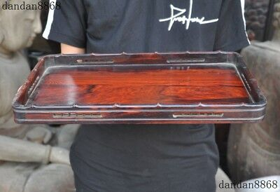 Old Chinese Redwood Hand carved Ancient Royal Food Tea Dish Plate Tray Salver