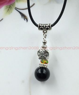Tibet silver obsidian beads red rope necklace pendant Chinese Charm Wholesale