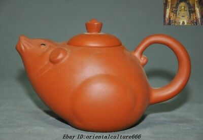 Marked Old Chinese Yixing Zisha Pottery Carved Mouse Mice Statue Teapot Tea Set