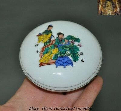 "3""Marked Old Chinese Wucai porcelain Lady Belle figure Man&Woman Box Boxes"