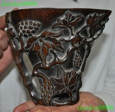 Rare Old Chinese Ox horn carving grape squirrel statue Wine vessel wineglass cup