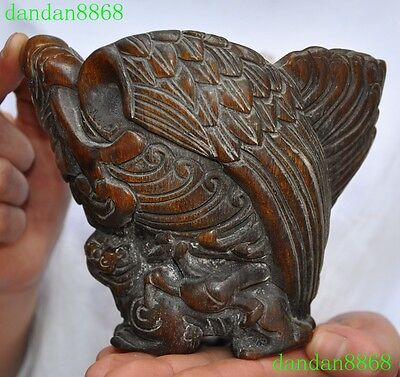 "6"" Old Chinese Ox horn carving Ruyi eagle lion statue Wine vessel wineglass cup"