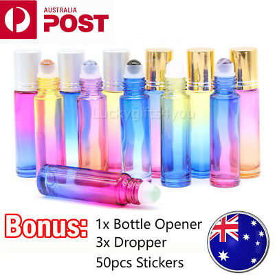 12X 10ml THICK Essential Oil Roll er Bottles with Natural Gemstone Roller Ball