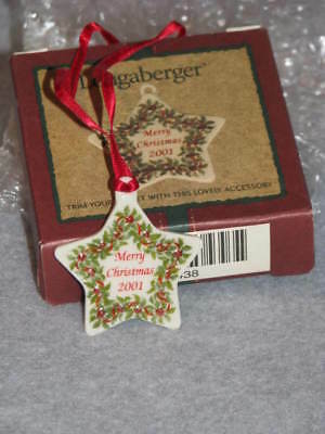 Longaberger 2001 Merry Christmas Pottery Tie On Holly Star Tie-on USA #39438 NIB