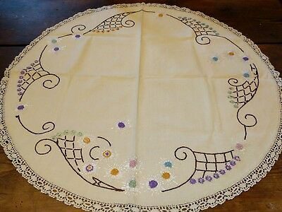 Vintage Embroidered Round Small Tablecloth