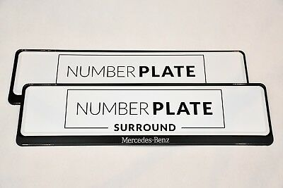 2 x PREMIUM BLACK STAINLESS STEEL NUMBER PLATE SURROUND HOLDER FRAME * MERCEDES