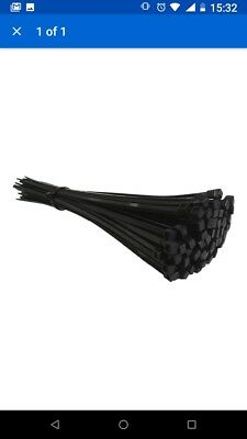 100 BLACK CABLE TIES 300mm X 4.8mm - UK Manufactured