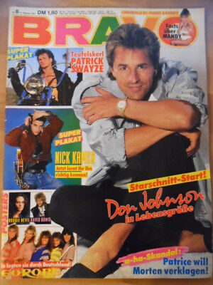 BRAVO 8-1987 (3) Don Johnson David Bowie Robbie Nevil Patrick Swayze Tony Hadley