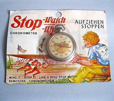 Alte Kinder Stop-Uhr Stop-Watch ESCO 1973 Made in Western Germany OVP Vintage