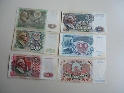 USSR Russia 50,200,500,1000,5000,10000 Rubles 1992 ( 6 Banknotes) F-VF+