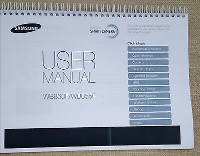 Samsung  Camera Wb850 Wb855  Full Colour Printed User Manual Guide 188 Pages A5