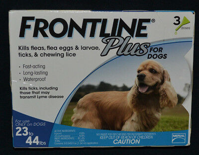 Frontline Plus For Dogs 23-44, 23to44 lbs. Three Month Supply, 3 Pack
