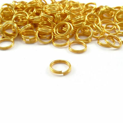 Gold Metal Key Ring Double Split Clasp Connection Keyring Hoops Connectors
