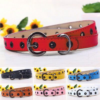 Toddler Waistband Kids Candy Color Belt Buckle PU Leather Girls Boys Hot Sale