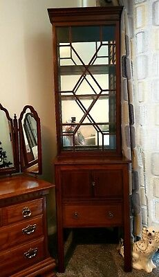 Edwardian Glass display cabinet Mahogany inlaid separates into two/easy pick up