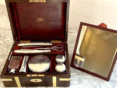 SUPERB  ROSEWOOD GENTS  DRESSING BOX, Rare Mother Of Pearl Razors, LONDON 1849