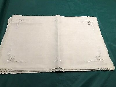 6 Vintage Off White  Linen Cutwork Embroidered Placemats