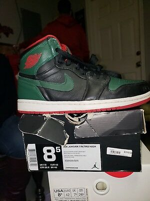 4bdbce863c1 Authentic Nike Men's Air Jordan 1 Retro Sneakers Black Gorge Green Gym Red  8.5