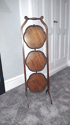 Antique Victorian Mahogany Folding 3 Three Tier Cake Stand Table