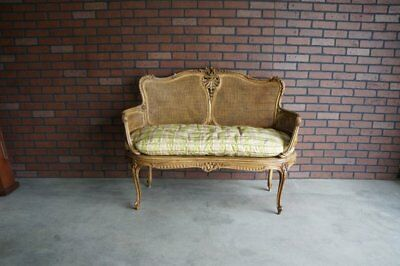 Antique French Carved Cane Settee ~ French Provincial Settee ~ Rococo Bench Seat
