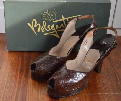 Vintage 1940's Beleganti Brown Leather Alligator Platform Heels in Original Box