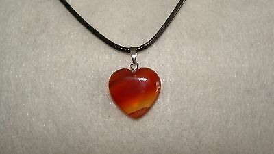 Birthstone Stripe Agate Stone Pendant Heart With Leather Necklace Gemstone J192