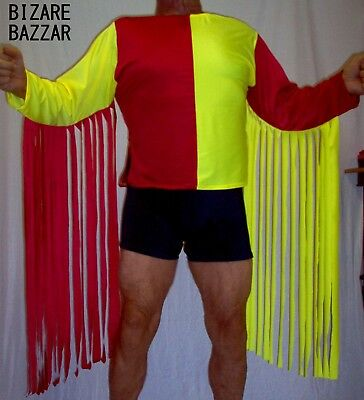 Red and Yellow fringed Spandex wrestling Top  /Costume/Dance