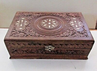 """12"""" Vintage Carved Wooden Box Inlay Ivory, Floral. Liner Mirror Jewelry Trinket"""