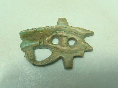 Eye of Ancient Egyptian god Horus Amulet (Faience)