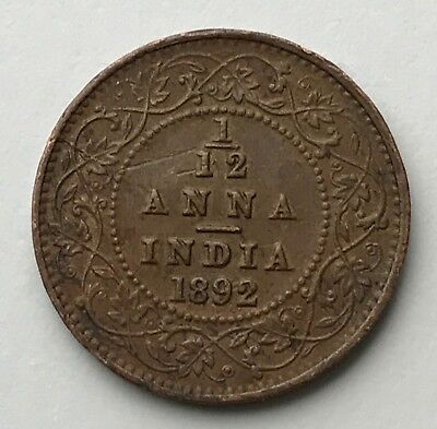 Dated : 1892 - India - One Twelfth Anna - 1/12 Anna Coin - Queen Victoria