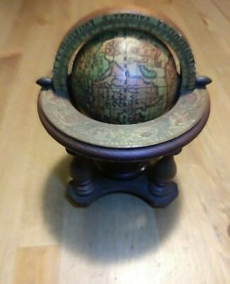 Vintage Italian Old Wood World Spinning Desk Globe Zodiac Nautical in good shape