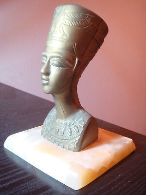 Ancient Egyptian Queen Nefertiti - Bronze Statue on marble base