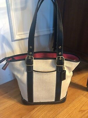 fb2040c4ab AUTH COACH Naturally Woven Straw   Hot Pink Leather Trim Tote ...