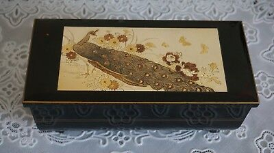 VTG Westland Original Wood Music Jewelry Box Peacock inlaid, For Elise, Japan