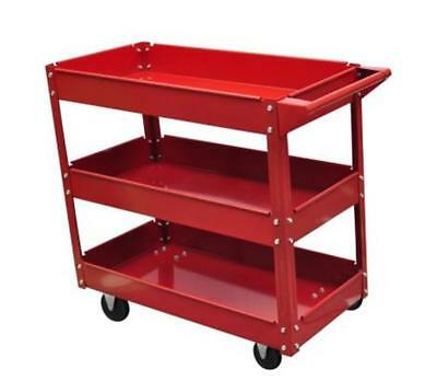 Workshop Tool Trolley 3 Tier Strong Shelves Warehouse Picking Handle Tray Side