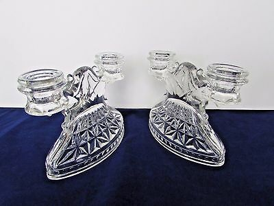 Pair of Clear Pressed Glass Double Stick Candleholder with Unique Oval Base