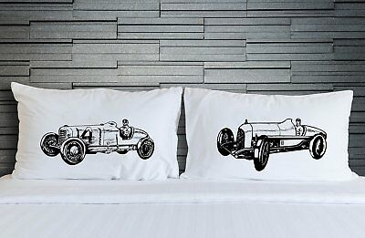 Vintage Race Car pillowcase set, racecar Pillow fighting pillowcases, car decor
