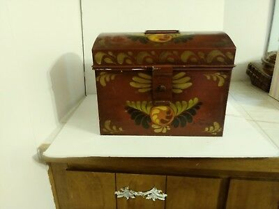Hand painted Large Toleware document box