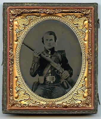 Confederate ambrotype of Georgia soldier w/ backpack and frame bucke - armed