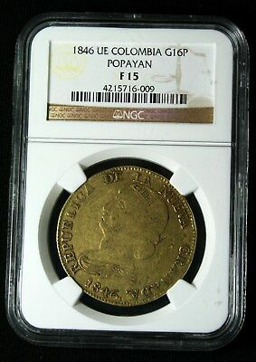1846 UE COLOMBIA POPAYAN GOLD Coin 16 PESOS Republic of New Granada NGC F 15