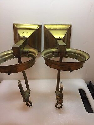 Pair Of  Vintage Mission Gas Brass Wall Sconces #2