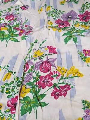 Vintage Floral Dress Fabric Rayon Cotton 1940s 1950s Approx 3+ Yards