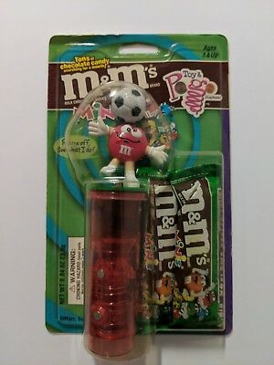 Vintage M&M's Mini's TOY & POGO Soccer Player Candy Dispenser NIB