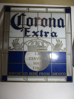 """Corona Extra Beer Sign with Leaded Border 18""""x 16"""" and Stained Glass Look"""
