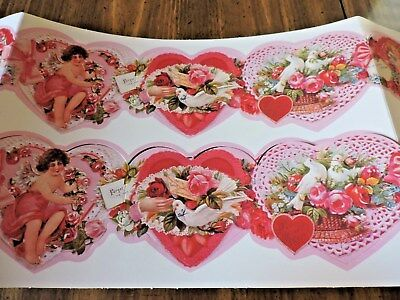 Vintage Look Valentines Day Paper Garland.  30 In.long.  Punch Out Strip.  Two.