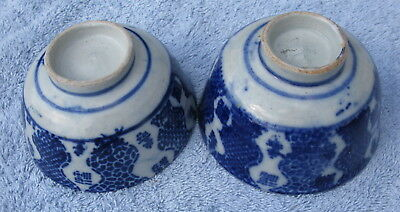 Antique English Flow Blue China 19thC two bowls transfer ware staffordshire